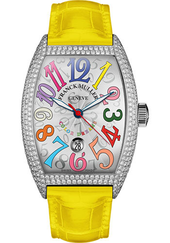 Franck Muller Watches - Cintre Curvex - Automatic - 43 mm Color Dreams - Platinum - Dia Case - Strap - Style No: 9880 SC DT COL DRM D7 PT White Yellow