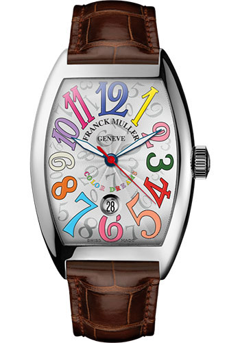 Franck Muller Watches - Cintre Curvex - Automatic - 43 mm Color Dreams - Platinum - Strap - Style No: 9880 SC DT COL DRM PT White Brown