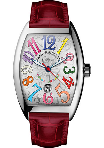 Franck Muller Watches - Cintre Curvex - Automatic - 43 mm Color Dreams - Platinum - Strap - Style No: 9880 SC DT COL DRM PT White Red