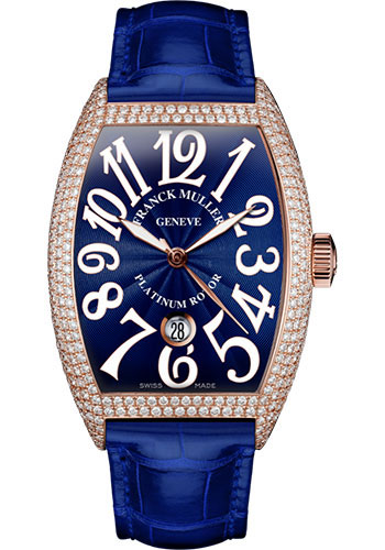 Franck Muller Watches - Cintre Curvex - Automatic - 43 mm Rose Gold - Dia Case - Strap - Style No: 9880 SC DT D7 5N Blue