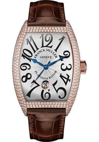 Franck Muller Watches - Cintre Curvex - Automatic - 43 mm Rose Gold - Dia Case - Strap - Style No: 9880 SC DT D7 5N White Brown