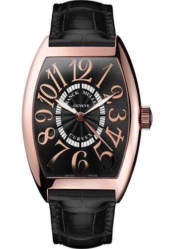 Franck Muller Watches - Cintre Curvex - Automatic - 43 mm Relief Numerals - Rose Gold - Strap - Style No: 9880 SC REL 5N Black