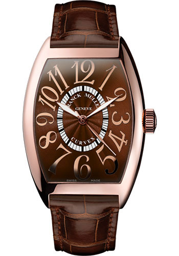 Franck Muller Watches - Cintre Curvex - Automatic - 43 mm Relief Numerals - Rose Gold - Strap - Style No: 9880 SC REL 5N Brown