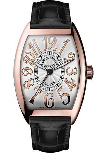 Franck Muller Watches - Cintre Curvex - Automatic - 43 mm Relief Numerals - Rose Gold - Strap - Style No: 9880 SC REL 5N White Black