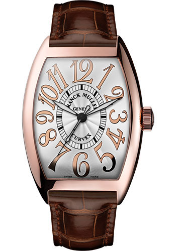 Franck Muller Watches - Cintre Curvex - Automatic - 43 mm Relief Numerals - Rose Gold - Strap - Style No: 9880 SC REL 5N White Brown