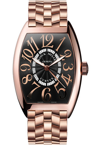 Franck Muller Watches - Cintre Curvex - Automatic - 43 mm Relief Numerals - Rose Gold - Bracelet - Style No: 9880 SC REL O 5N Black