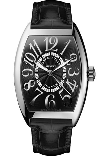 Franck Muller Watches - Cintre Curvex - Automatic - 43 mm Relief Numerals - White Gold - Strap - Style No: 9880 SC REL OG Black