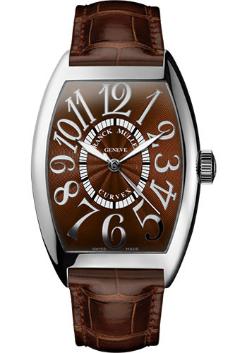 Franck Muller Watches - Cintre Curvex - Automatic - 43 mm Relief Numerals - White Gold - Strap - Style No: 9880 SC REL OG Brown