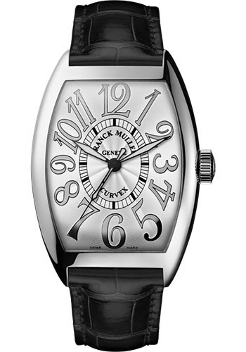 Franck Muller Watches - Cintre Curvex - Automatic - 43 mm Relief Numerals - White Gold - Strap - Style No: 9880 SC REL OG White Black