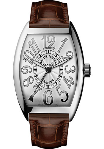 Franck Muller Watches - Cintre Curvex - Automatic - 43 mm Relief Numerals - White Gold - Strap - Style No: 9880 SC REL OG White Brown