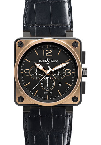 Bell & Ross Watches - BR 01-94 Chronograph Officer - Style No: BR 01-94 Black Rose Gold & Carbon Officer