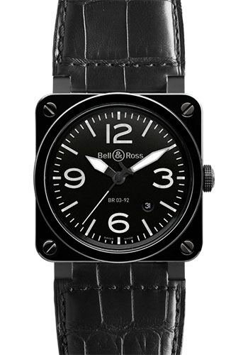 Bell & Ross Watches - BR 03-92 Automatic Black Ceramic - Style No: BR 03-92 Black Ceramic Alligator