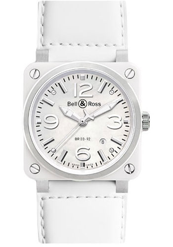 Bell & Ross Watches - BR 03-92 Automatic White Ceramic - Style No: BR 03-92 White Ceramic Calfskin