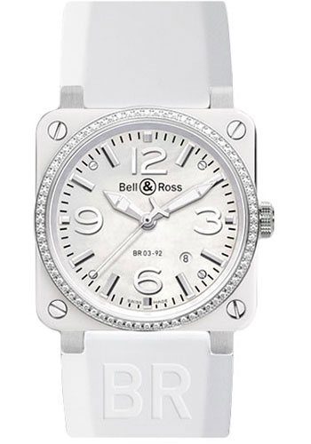 Bell & Ross Watches - BR 03-92 Automatic White Ceramic - Style No: BR 03-92 White Ceramic Diamond Rubber