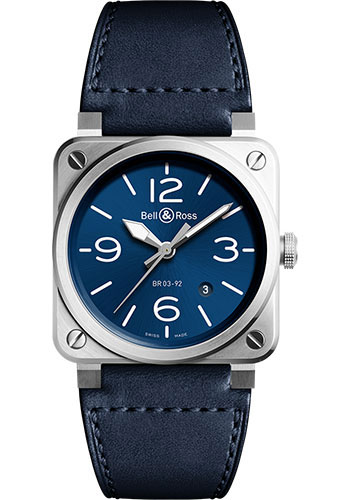 Bell & Ross Watches - BR 03-92 Automatic Blue Steel - Style No: BR0392-BLU-ST/SCA