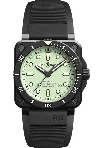 Bell & Ross Watches - BR 03-92 Automatic Diver Full LUM - Style No: BR0392-D-C5-CE/SRB