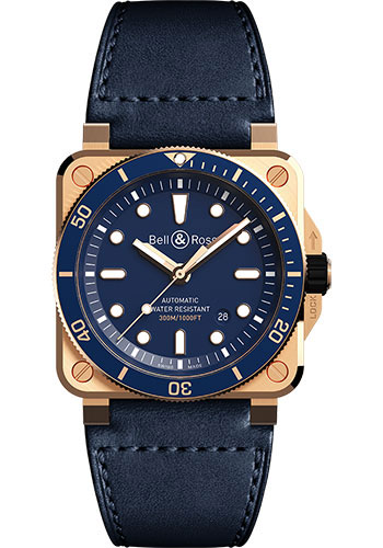 Bell & Ross Watches - BR 03-92 Automatic Diver Blue Bronze - Style No: BR0392-D-LU-BR/SCA