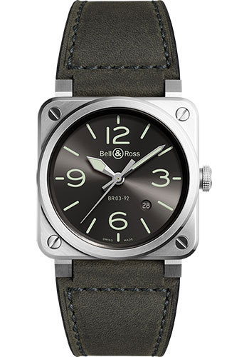 Bell & Ross Watches - BR 03-92 Automatic Grey LUM - Style No: BR0392-GC3-ST/SCA