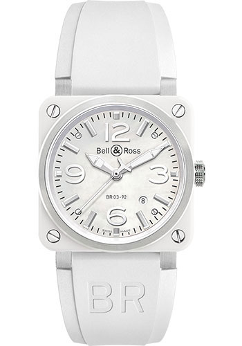 Bell & Ross Watches - BR 03-92 Automatic White Ceramic - Style No: BR0392-WH-C/SRB
