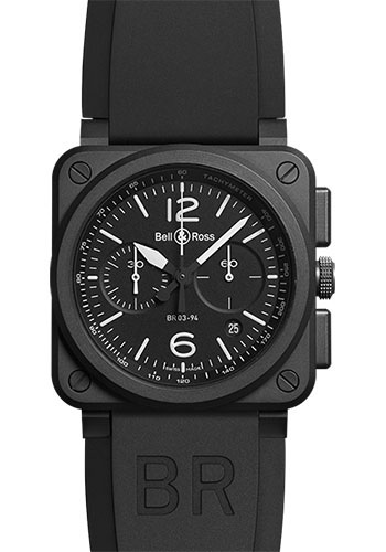 Bell & Ross Watches - BR 03-94 Chronograph Black Matt Ceramic - Style No: BR0394-BL-CE