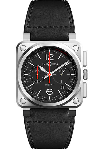 Bell & Ross Watches - BR 03-94 Chronograph Black Steel - Style No: BR0394-BLC-ST/SCA