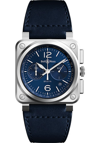 Bell & Ross Watches - BR 03-94 Chronograph Blue Steel - Style No: BR0394-BLU-ST/SCA