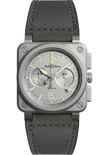 Bell & Ross Watches - BR 03-94 Chronograph Horolum - Style No: BR0394-GR-ST/SCA