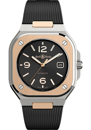 Bell & Ross Watches - BR 05 Black Steel and Gold - Style No: BR05A-BL-STPG/SRB