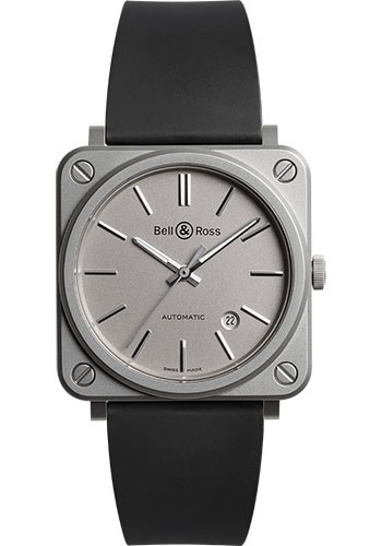 Bell & Ross Watches - BR S-92 Automatic Grey Matte - Style No: BRS92-GR-ST/SRB