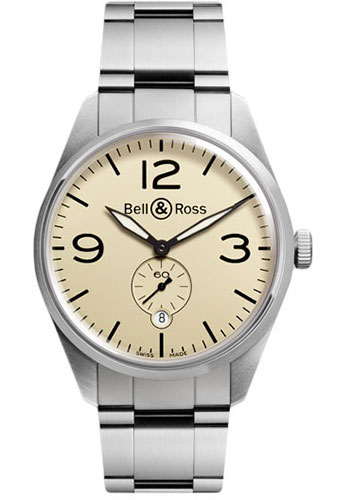 Bell & Ross Watches - Vintage BR 123 Automatic Original - Style No: BRV 123 Original Beige Stainless Steel Bracelet
