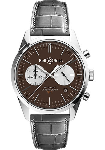 Bell & Ross Watches - Vintage BR 126 Chronograph Officer - Style No: BRV 126 Officer Brown Grey Alligator