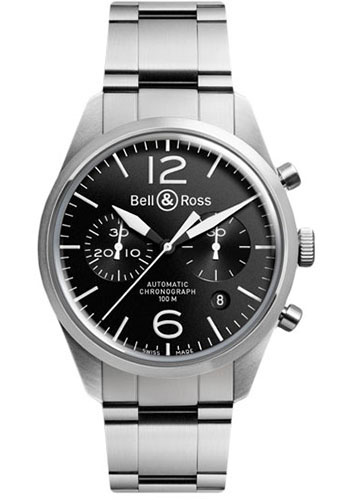 Bell & Ross Watches - Vintage BR 126 Chronograph Original - Style No: BRV 126 Original Black Stainless Steel Bracelet