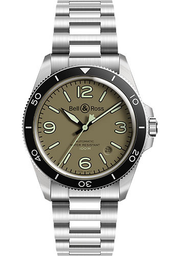 Bell & Ross Watches - BR V2-92 Military Green - Style No: BRV292-MKA-ST/SST
