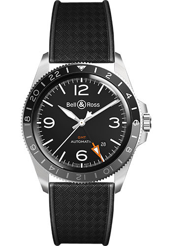 Bell & Ross Watches - BR V2-93 GMT - Style No: BRV293-BL-ST/SRB