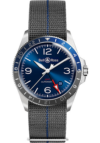 Bell & Ross Watches - BR V2-93 GMT Blue - Style No: BRV293-BLU-ST/SF