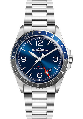 Bell & Ross Watches - BR V2-93 GMT Blue - Style No: BRV293-BLU-ST/SST