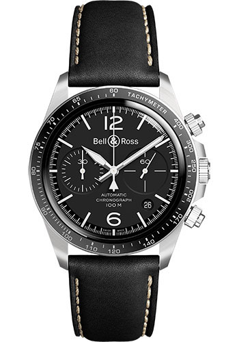 Bell & Ross Watches - BR V2-94 Black Steel - Style No: BRV294-BL-ST/SCA