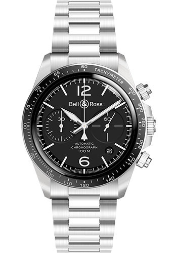 Bell & Ross Watches - BR V2-94 Black Steel - Style No: BRV294-BL-ST/SST