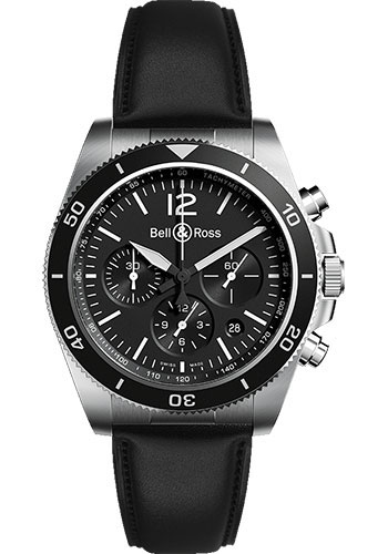 Bell & Ross Watches - BR V3-94 Black Steel - Style No: BRV394-BL-ST/SCA