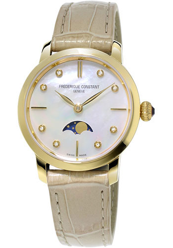 Frederique Constant Watches - Classics Slimline Moonphase Yellow Gold Plated - Style No: FC-206MPWD1S5