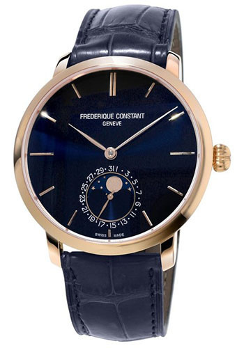 Frederique Constant Watches - Manufacture Slimline Moonphase Rose Gold Plated - Style No: FC-705N4S4