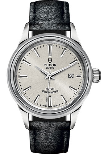 Tudor Watches - Style 28 mm - Steel - Double Bezel - Leather Strap - Style No: M12100-0005
