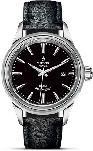 Tudor Watches - Style 28 mm - Steel - Double Bezel - Leather Strap - Style No: M12100-0006