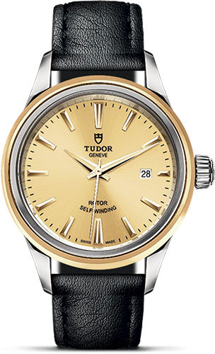 Tudor Watches - Style 28 mm - Steel and Gold - Double Bezel - Leather Strap - Style No: M12103-0007