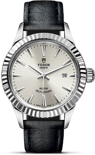Tudor Watches - Style 28 mm - Steel - Fluted Bezel - Leather Strap - Style No: M12110-0021