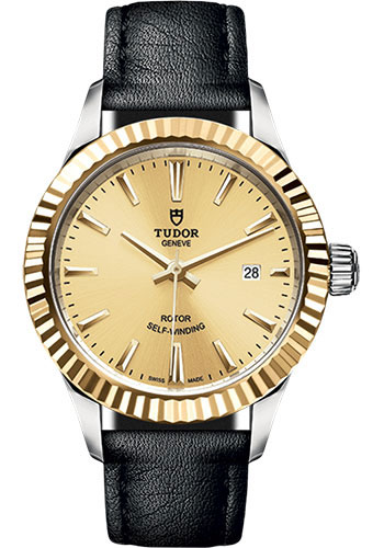 Tudor Watches - Style 28 mm - Steel and Gold - Fluted Bezel - Leather Strap - Style No: M12113-0019