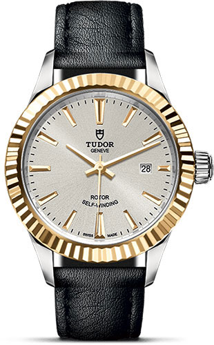 Tudor Watches - Style 28 mm - Steel and Gold - Fluted Bezel - Leather Strap - Style No: M12113-0020