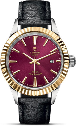 Tudor Watches - Style 28 mm - Steel and Gold - Fluted Bezel - Leather Strap - Style No: M12113-0025