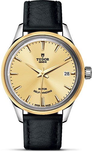 Tudor Watches - Style 34 mm - Steel and Gold - Double Bezel - Leather Strap - Style No: M12303-0007