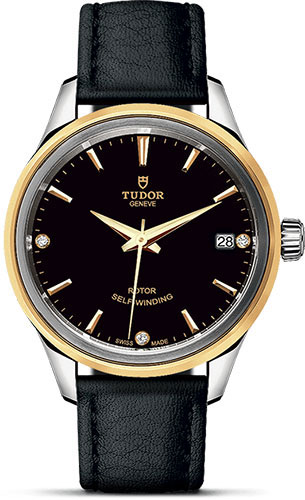Tudor Watches - Style 34 mm - Steel and Gold - Double Bezel - Leather Strap - Style No: M12303-0012